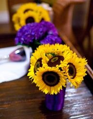 Vibrant yellow sunflowers are affordable and really pop in arrangements and bouquets.