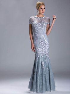 Sheath/Column Scoop Short Sleeves Applique Floor-length Tulle Dress