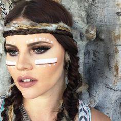 maquillage-indienne-amerique-princesse-guerriere-bandeau-tresses