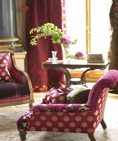 Campanile, an authentic looking silk in Indian summer colour ways..... I love the way the seat cushion is upholstered in the velvet with the balance of the chair in the silk