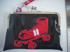 Roller Derby clutch sparkle vinyl metal flake wristlet black with hot pink roller skate by spunbyver on Etsy