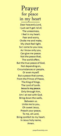 """Prayer for peace in my heart"" is partially based on Ephesians 2:13-18 which speaks about how Jesus is our only true peace. He makes peace between you and God by ending all conflict and hostility. But beyond just an end to disagreement, true peace is a unified heart.  Pray for peace in your heart and God will give it to you."