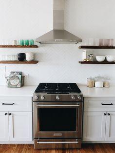Ikea Kitchen Renovation // Grey Cabinets, Herringbone Backsplash & Open Shelving- LOVE this kitchen so much! Just Cabinets, Kitchen Cabinets, Grey Cabinets, Upper Cabinets, New Kitchen, Kitchen Dining, Kitchen Decor, Mint Kitchen, Kitchen Ideas