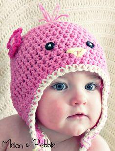 Sweet Tweet Birdie Beanie Newborn-Adult sizes PATTERN ONLY. $5.00, via Etsy.