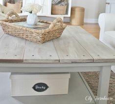 Ikea Hacked Barnboard Coffee Table Tutorial #ikeahack ikea hack gray grey stain vinegar DIY whitewash