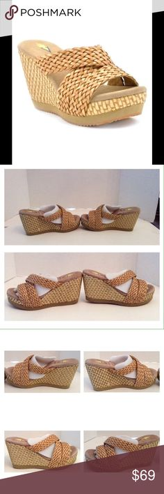 """Very Volatile Woven Wedge Sandal Very Volatile Eloise tan woven wedge platform sandal.  Size 8 medium.  New with box.  Open toe.  Crisscross woven front vamp.  Open back.  Approximately 3.75"""" heel.  No trades. Very Volatile Shoes Sandals"""
