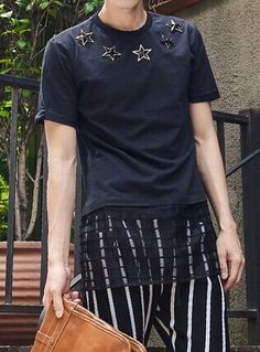 Stylish Round Neck Metal Five-Pointed Star Embellished Extension Mesh Legging Design Short Sleeves Cotton T-Shirt For Men Color: BLACK Size: M, L, XL Category: Men > Men's T-Shirts & Vest   Material: Cotton  Sleeve Length: Short  Collar: Round Neck  Style: Fashion  #solidclortshirtsmen #solidtshirts #mentshirts #tshirt #bridgat.com