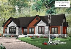 Discover the plan 3224 - Dambroise from the Drummond House Plans house collection. Comfortable 3 to 4 bedroom Ranch bungalow house plan, ceiling, large kitchen island, covered rear balcony. Total living area of 1883 sqft. Bungalow House Plans, Ranch House Plans, House Floor Plans, Bungalow Ideas, Plan Chalet, Drummond House Plans, Building Costs, Ranch Style Homes, Open Layout