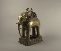Khandoba and Mahout on an Elephant    Date:      18th century  Culture:      India (Maharasthra)  Medium:      Brass
