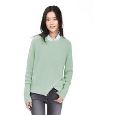 Banana Republic Womens Cutout Front Crew Pullover Size XS - Dusty aqua ($90) ❤ liked on Polyvore featuring tops, green top, long sleeve cutout top, banana republic, long sleeve tops and banana republic tops