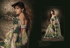 $281.4 Sonal Chauhan in Green Net Diamond and Cut Work Saree 22889