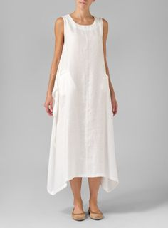 Linen Sleeveless Long Dress Off White without back being buttoned
