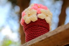 Pink Crocheted Flower Pot PDF Pattern Easy Crochet by etty2504, $4.90