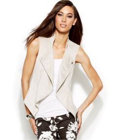 INC International Concepts Draped Open-Knit Vest - INC International Concepts - Women - Macy's
