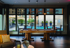 Rooftop lounge with billiards table, TVs and Wi-Fi