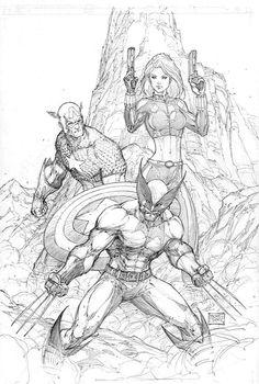 Captain America, Black Widow, Wolverine by Michael Turner Comic Book Artists, Comic Book Characters, Marvel Characters, Comic Artist, Comic Character, Comic Books Art, Michael Turner, Marvel Comics Art, Marvel Heroes