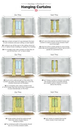 The Dos & Don'ts of Hanging Curtains: An Illustrated Guide Nothing makes a room feel well-dressed quite like carefully chosen, expertly hung curtains. When done right, your ceilings can look taller and your room will appear complete. Apartment Living, Apartment Therapy, Small Apartment Hacks, Cheap Apartment, Apartment Furniture, Small Apartments, Apartment Ideas, Small Spaces, Family Room Curtains