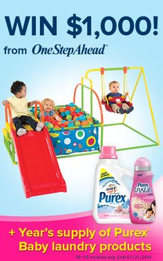 *THIS SWEEPSTAKES HAS ENDED* Enter to WIN $1,000 @OneStepAhead gift certificate + a year's supply of @purex Baby laundry products!