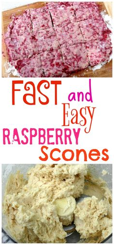 Fast and Easy Raspberry Scones: I had some raspberries quickly going south for the winter. They were mushy and would not hold their shape if I attempted to use them where stirring or any anything other than delicate handling was Fun Easy Recipes, Brunch Recipes, Sweet Recipes, Breakfast Recipes, Easy Meals, Breakfast Ideas, Top Recipes, Brunch Ideas, Yummy Recipes