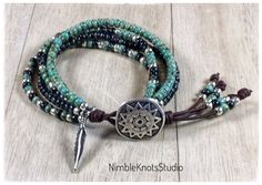 Turquoise Wrap Bracelet, Native American Style Seed Bead Leather Wrap Bracelet, Southwestern Jewelry, Beaded Wrap Bracelet, Southwest Boho by nicole Bead Loom Bracelets, Beaded Wrap Bracelets, Leather Bracelets, Diy Bracelet, Seed Bead Earrings, Beaded Earrings, Fringe Earrings, Boho Jewelry, Beaded Jewelry