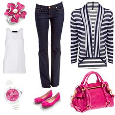 shoe color pop = fun way to incorporate pink without going overboard