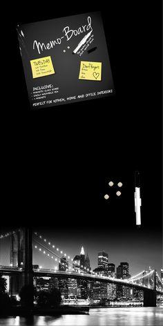 MEMO SKYLINE -taulu jossa kynä ja magneetteja. #sisustusidea #sisustaminen #sisustusinspiraatio #askohuonekalut #sisustusidea #sisustusideat