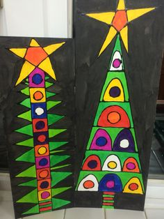 Christmas art projects, christmas tree art, christmas arts and Christmas Art Projects, Christmas Tree Art, Christmas Arts And Crafts, Winter Art Projects, Christmas Fun, Holiday Crafts, Christmas Decorations, Xmas Drawing, Theme Noel