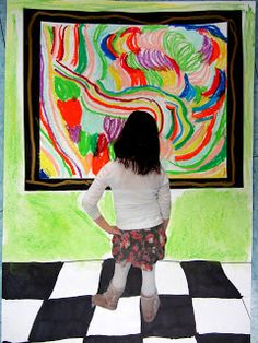 Take picture of student pretending to be looking at a piece of abstract art they may not understand. Past cut out picture to their artwork. Can I do this with an iPad app?