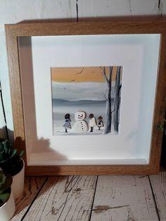 pebble picture Christmas children snowman handmade xmas gift handmade collage Ooak Christmas art by edgeofthesand on Etsy