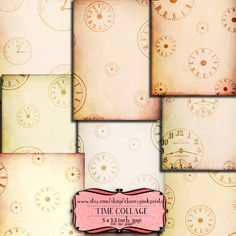 TIME CLOCKS Digital Collage Sheet steampunk Digital paper Download Scrapbooking Supplies for homecraft