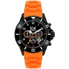 Ice-Watch Chronograph Black and Orange Silicone Watch