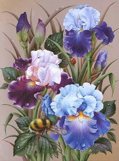 Cheap painting cross stitch, Buy Quality mosaic kit directly from China diamond painting cross stitch Suppliers: DPF diamond embroidery Flowers bees diamond painting cross stitch crafts diamond mosaic kit full square rhinestone home decor Watercolor Flowers, Watercolor Paintings, Iris Painting, Silk Painting, Iris Art, Flower Artwork, Iris Flowers, Album Design, Cross Paintings