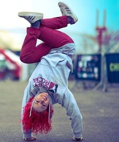Roxy: UK B-Boy Championship World Finals Winner 2011 and she's in the Guinness Book of World Records for the most headspins in one minute!