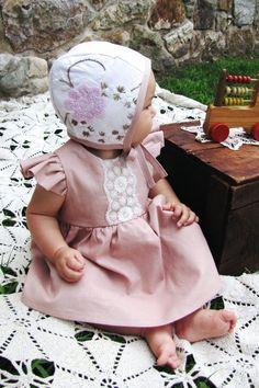 Handmade Linen & Lace Baby Dress & Bonnet | ThePathLessRaveled on Etsy