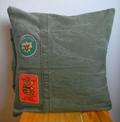 Vintage B.S.A Patrol Leader & Pow Wow Patches on Army Tent Pillow Cover