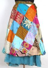 Vintage Silk Sari Patchwork Magic wrap skirt dress beach wear Free Ship ID-25227