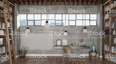 View top-quality stock photos of Home Office And Libary. Find premium, high-resolution stock photography at Getty Images. Casa Loft, Loft House, Display Design, Set Design, Dream Big, Architecture Photo, Home Office, Sweet Home, Stock Photos