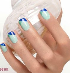 Spring Mani with turquoise, blue and green. http://www.edgesalonoviedo.com    Check out http://www.nailsinspiration.com for more inspiration!