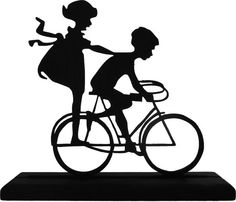 silhouette kids on bike Mounted Rubber Stamp by terbearco Silhouette Cameo, Kids Silhouette, Silhouette Portrait, Large Wall Decals, Kids Wall Decals, Little Boy And Girl, Boy Or Girl, Bike Wedding, Bike Mount