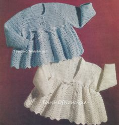 CROCHET Baby MATINEE COATS Vintage Crochet by touchofnostalgia7, $3.75