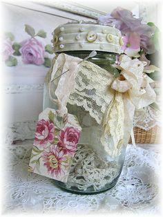 Cottage Shabby Jar by kimberlyannryan, via Flickr