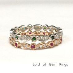 $575 Ruby & Emerald Diamond Wedding Band Sets Eternity Anniversary Ring 14K Rose&White Gold Art Deco