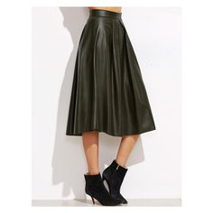 Army Green Pleated Zipper Back PU Skirt ($27) ❤ liked on Polyvore featuring skirts, pleated skirt, olive skirt, army green skirt, olive green skirt and pu skirt
