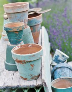 vintage-inspired Blue weathered terracotta pots Repinned by www.silver-and-grey.com