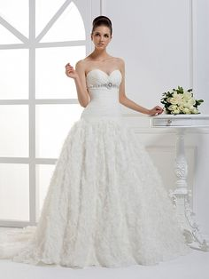 Beautiful Sleeveless with Dropped waist wedding dress  Ball Gown, Floor Length, Dropped, Sweep/Brush Train, Strapless, Sleeveless, Beading, Hand Made Flowers, Lace-Up, Satin Organza, Church, Garden/Outdoor, Hall, Spring, Summer, Fall, Winter,