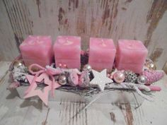 4 solid colored square safety candles in the Trendfar antique pink are . Christmas Candles, Pink Christmas, Christmas Colors, Christmas Time, Christmas Crafts, Christmas Ornaments, New Years Decorations, Christmas Decorations, Deco Table Noel