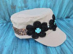 Black Flower Hat, Khaki Hat, Turquoise Cross Hat, Animal Print Hat, Cadet Hat, Military Hat, Leopard Print Hat, Shabby Chic Hat, tammydee