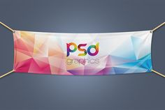 Textile Fabric Banner Mockup Free PSD