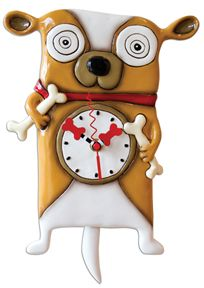 Roofus makes a crazy clock with a wagging tail pendulum!