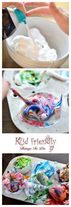 How To Dye Easter Eggs With Shaving Cream (or Whipped Cream) - What a fun way to dye Easter Eggs with kids. Love the different swirl patterns - http://www.kidfriendlythingstodo.com